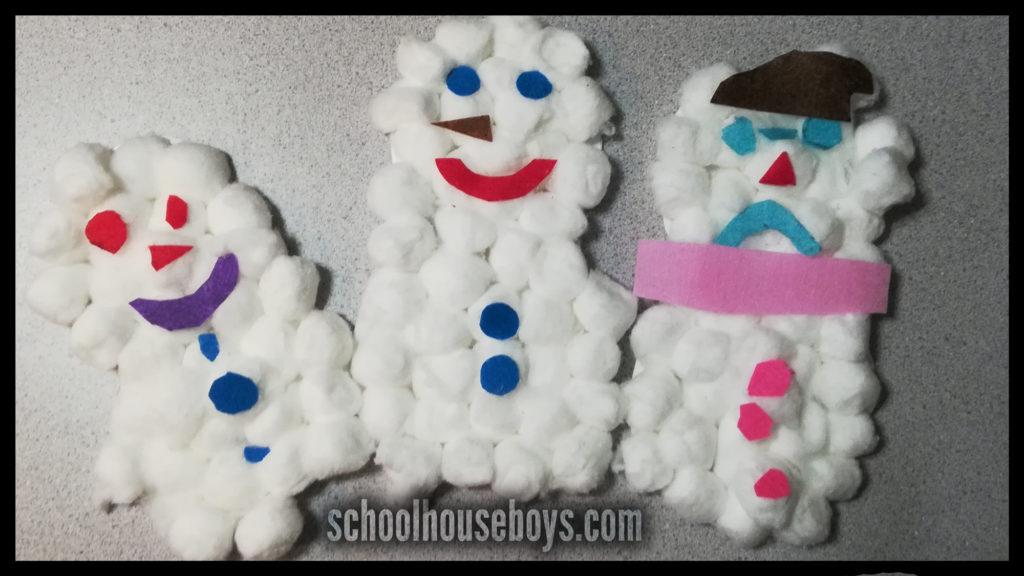 craft - cotton ball snowman